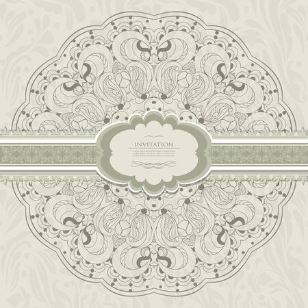 Vintage invitation with lace Stock Vector - 21159948