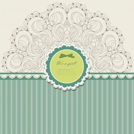 Vintage invitation with lace vector eps 10 Illustration