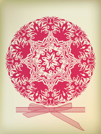 Beautiful ornament for merry Christmas card vector  Vector