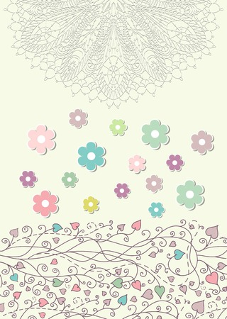 Beautiful baby vintage greeting card vector Stock Vector - 24004689