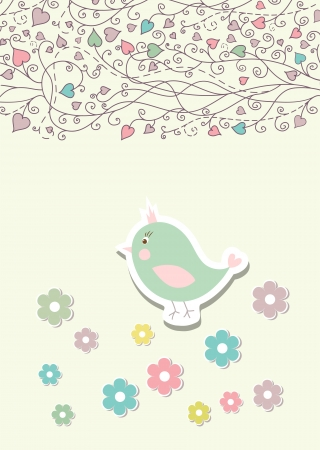 Beautiful baby vintage greeting card vector