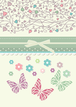 trifolium: Beautiful baby vintage greeting card vector
