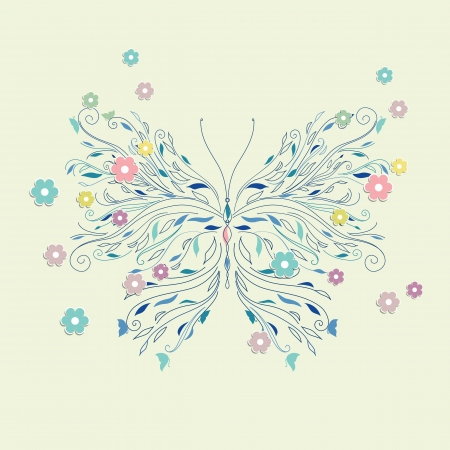 butterfly hand: Hand drawing sketch butterfly vector