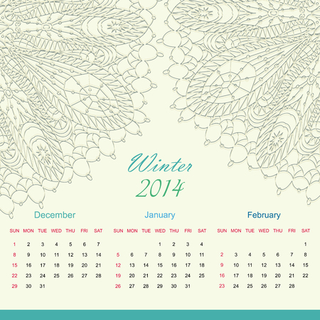 Calender of 2014 year vector Vector
