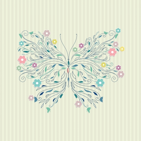 Hand drawing sketch butterfly   Vector