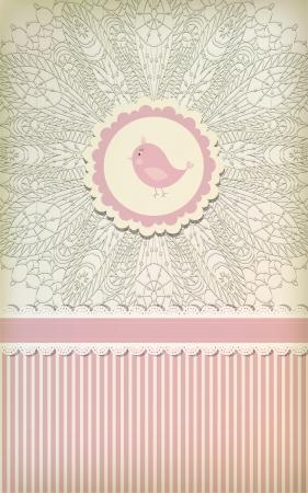 vintage baby: Beautiful baby vintage greeting card   Illustration