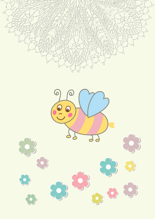 Beautiful baby vintage greeting card   Stock Vector - 24383761
