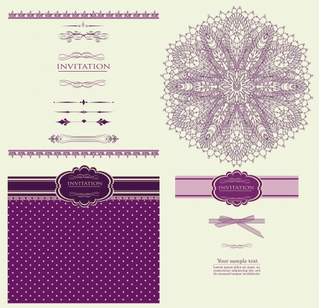 Design purple invitation merry Christmas vector
