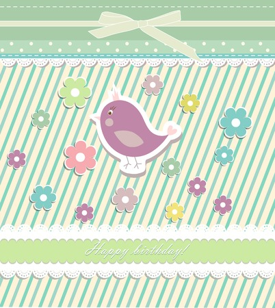 Beautiful baby vintage greeting card vector eps 10 Vector