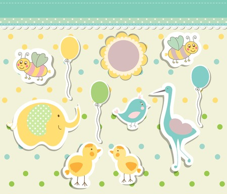 Vintage doodle baby toys for greeting card vector eps 10 Vector