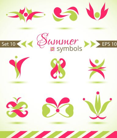 office product: Set of different abstract flat summer and spring elements for design logo. Vector illustration eps 10 Illustration