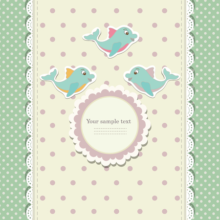 marco cumpleaños: Romantic scrap booking template for invitation, greeting, baby shower card, happy birthday label, postcard frame or child album. Vector illustration in vintage style