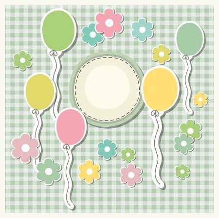 marco cumpleaños: plantilla romántica reserva de chatarra para la invitación, saludo, tarjeta de la ducha del bebé, etiqueta feliz cumpleaños, marco de la postal o el álbum infantil. ilustración vectorial de estilo vintage Vectores