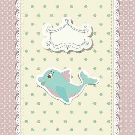 pink dolphin: Romantic scrap booking template for invitation, greeting, baby shower card, happy birthday label, postcard frame or child album. Vector illustration in vintage style