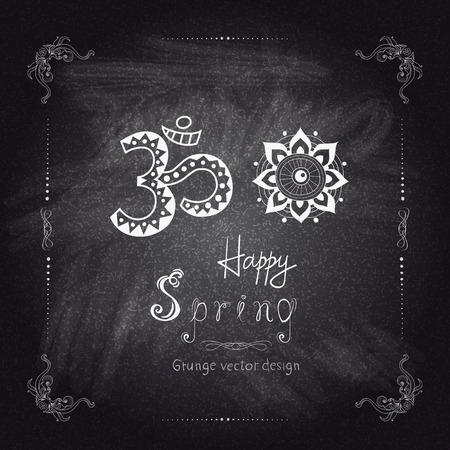 divinity: Hand drawing spring card in frame on chalkboard background. Vector illustration in abstract style