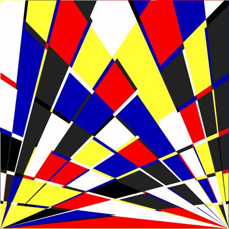 Geometric background. Vector illustration colored in Piet Mondrian Style Illustration