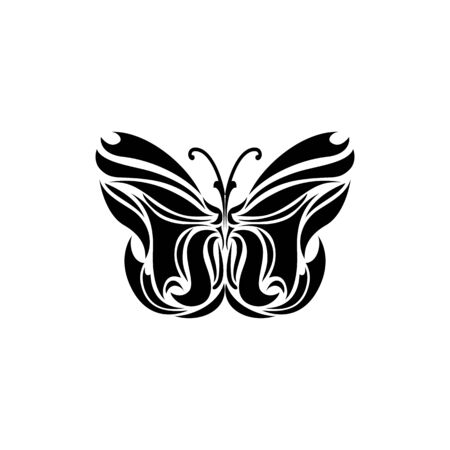 Black logotype of butterfly isolated on white background. Vector illustration in abstract style Illustration