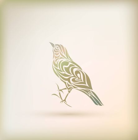 Stylish greeting card with bird. Vector illustration in doodle style Illustration