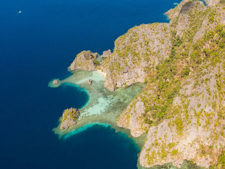 tropical island with coral reefs. Philippine Islands in clear weather aerial view. Philippines, Palawan Reklamní fotografie
