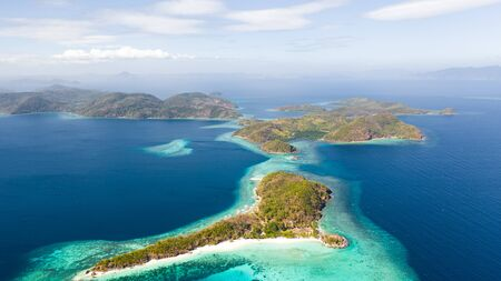 Beautiful archepilag with coral reefs.Tropical islands, view from above aerial view Reklamní fotografie