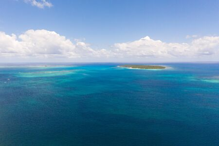 Bucas Grande Island, Philippines. Beautiful lagoons with atolls and islands, view from above. Seascape, nature of the Philippines.
