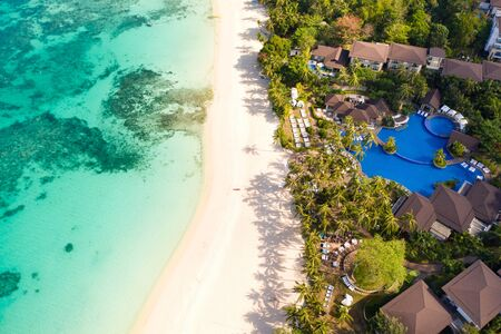 Beautiful Punta Bunga Beach on Boracay island, Philippines.Hotels near the beach in sunny weather. The coast of the island of Boracay for tourists. Reklamní fotografie