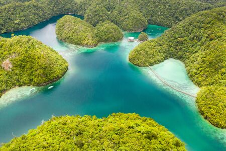 Sugba lagoon, Siargao,Philippines. Small islands with lagoons, top view. Beautiful tropical landscape.