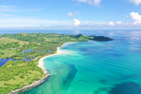 Tropical island with a white beach. Caramoan Islands, Philippines. Beautiful islands, view from above.