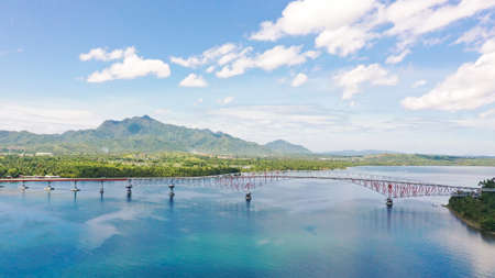 San Juanico Bridge: The Longest Bridge in the Philippines. Road bridge between the islands, top view. Summer and travel vacation concept.