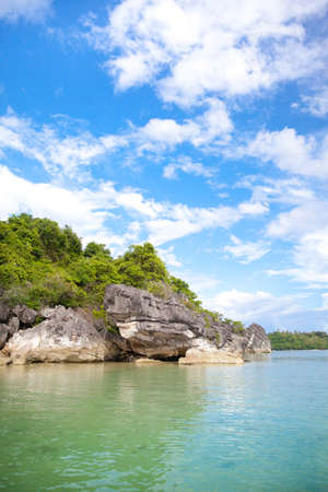 Rocks by the sea on Caramoan Island, Philippines, Asia. Beautiful seascape. Summer and travel vacation concept.