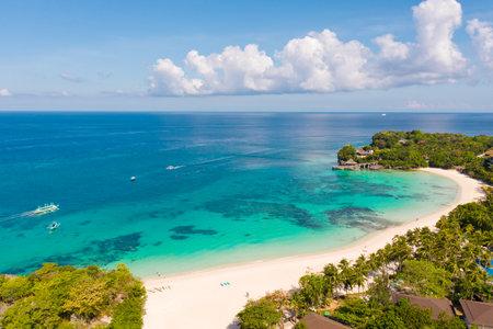 Beautiful Punta Bunga Beach on Boracay island, Philippines.Hotels near the beach in sunny weather. The coast of the island of Boracay for tourists.