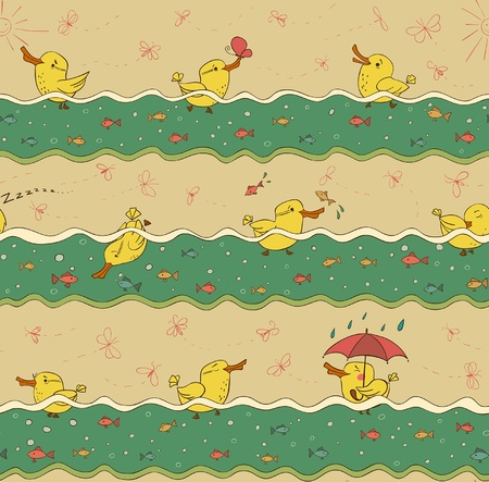 Swimming ducks Vector