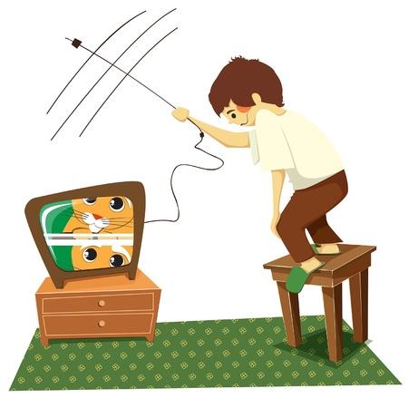 installation: TV  Boy sets up an old television, illustration Illustration