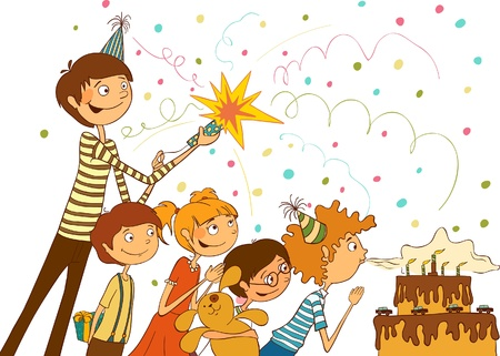 Happy birthday  Boy blows out the candles on a large cake, illustration