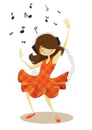 girl in red dress: Girl dancing with headphones, illustration