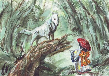 white wolf and little girl Stock Photo - 4884263