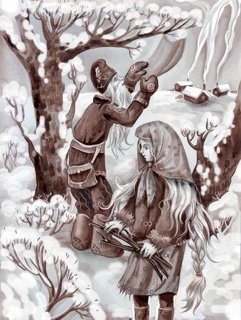woman in fur coat: winter tale