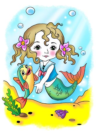 mermaid and fish. character desighn and all drawing by me Stock Photo