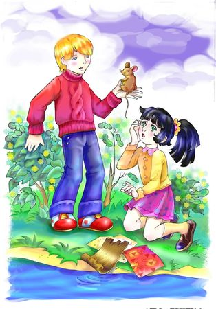 children finde a mouse  at the river bank. my illustration, my own characters Stock Illustration - 4906756