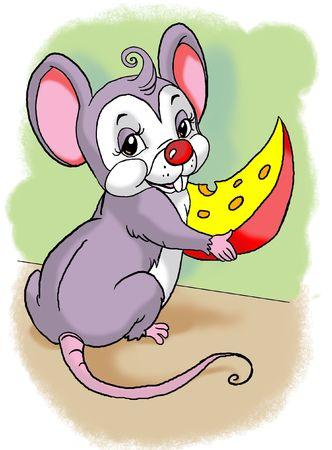 ratones comiendo queso. car�cter de dise�o por m�. Foto de archivo - 4906755