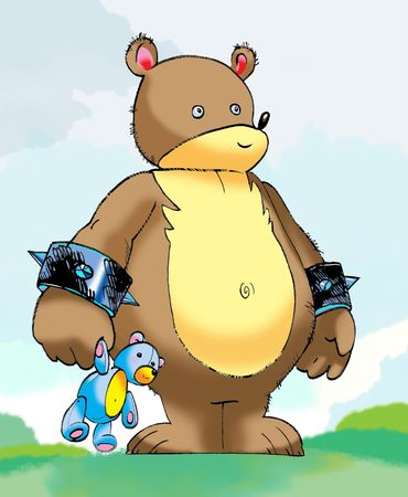 drawing of cartoony Teddy bear. character design and  the art is created by me