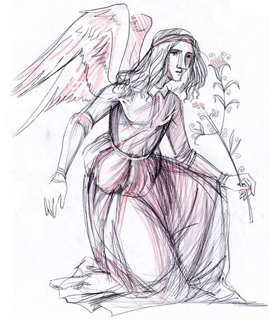 angel  holding an olive branch. the art is completly created by me Stock Photo