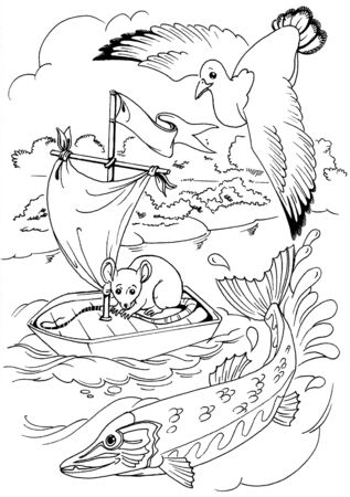 drawing of little mouse on the boat. the art is completly created by me