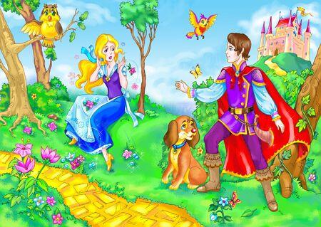 le dessin de l'héroïne de conte de fée et de prince.