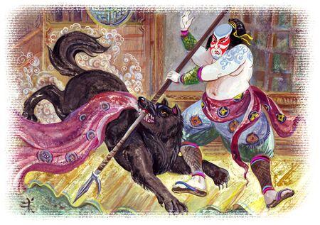 drawing of brave samurai warrior and black demon wolf