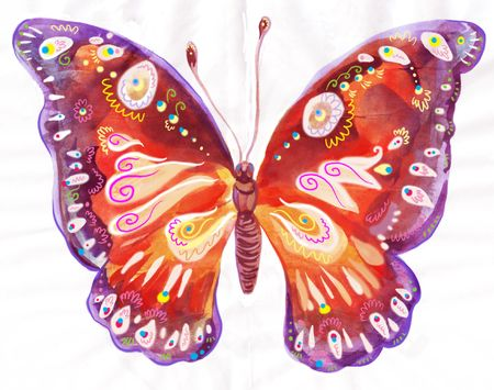 bitmap: Painting of beautiful butterfly on white background