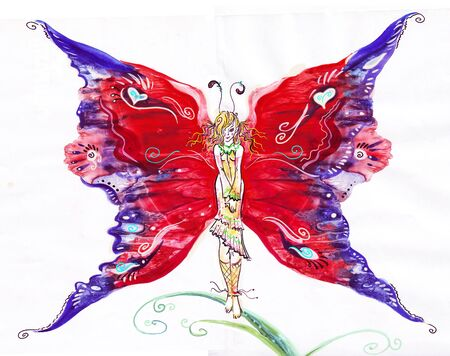 Painting of beautiful  fairy butterfly on white background