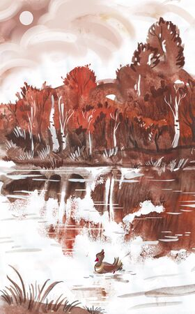 painting of the autumn landscape, watercolors photo