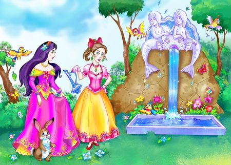 drawing of two fairy tale heroines in the park