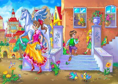 drawing of fairy tale street